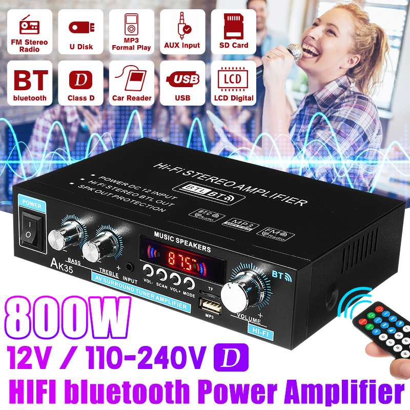 AK35 800 واط المنزل مضخمات الصوت للسيارة 2 قناة بلوتوث 5.0 الصوت المحيطي FM USB التحكم عن بعد صغير HIFI مضخم رقمي ستيريو