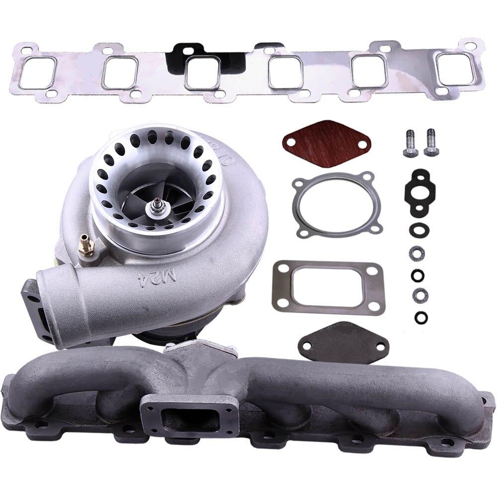 Turbo colector + turbocompresor para Nissan Safari patrulla TD42 GQ Y60 GR gasolina 4.2L contra de GT35 GT3582 Turbo turbocompresor