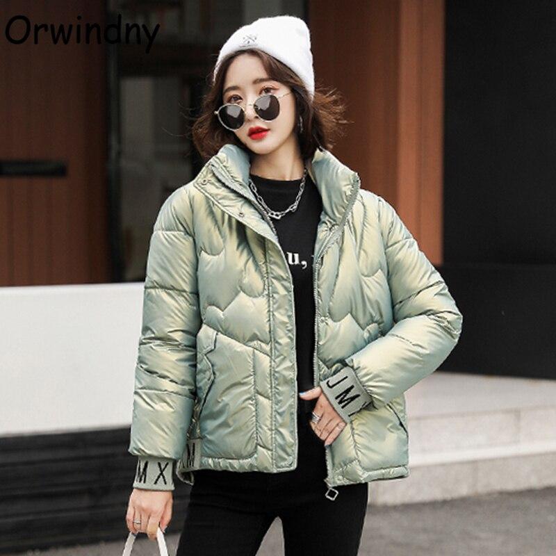 Женская теплая хлопковая куртка Orwindny, модные зимние пальто с воротником-стойкой, глянцевые парки, зимняя одежда, водонепроницаемая одежда с...