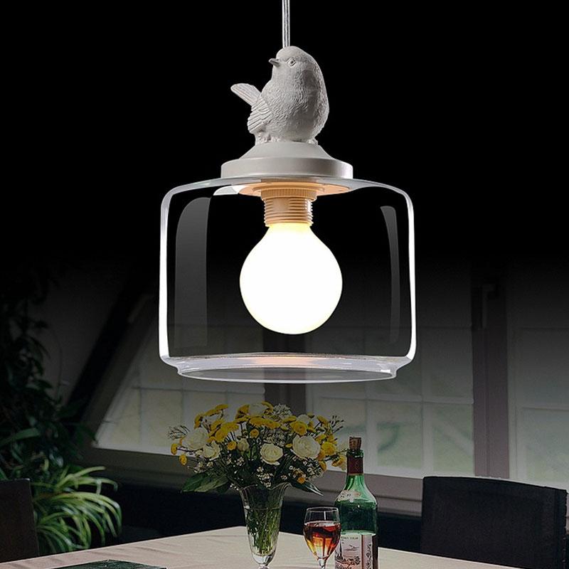 nordic passaro luz pingente moderno lampada de vidro de suspensao da cozinha industrial