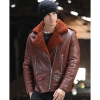 suit classic business style genuine sheepskin leather jacket shearling fur clothing brown blue real natural fur jacket