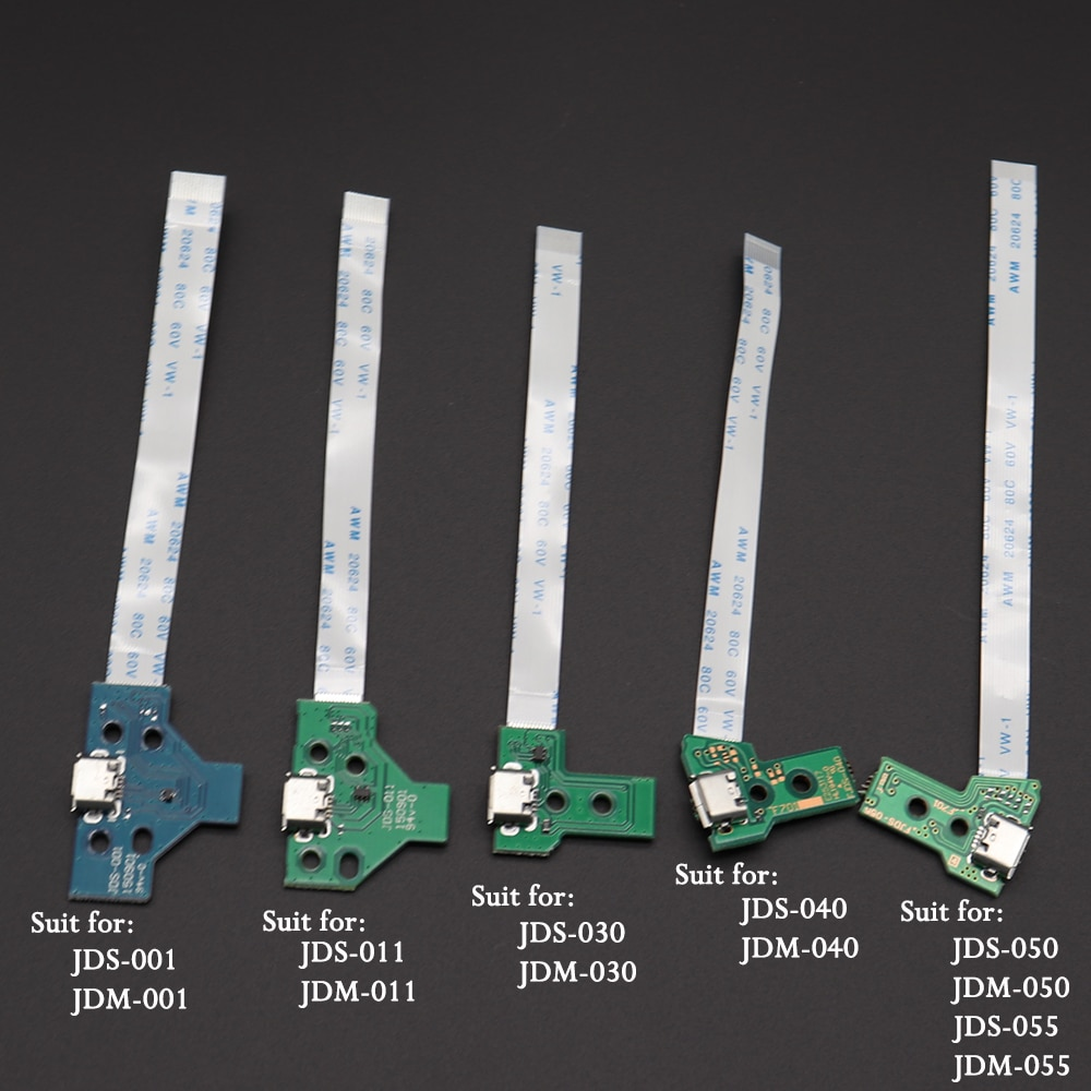 jds 001 jds 011 jds 030 jds 040 usb charging port socket board charger board with flex ribbon cable for ps4 pro controller board 1pc USB Charging Port Socket Circuit Board For 12Pin JDS 011 030 040 055 14Pin 001 Connector For PS4 Controller Dual Replacement
