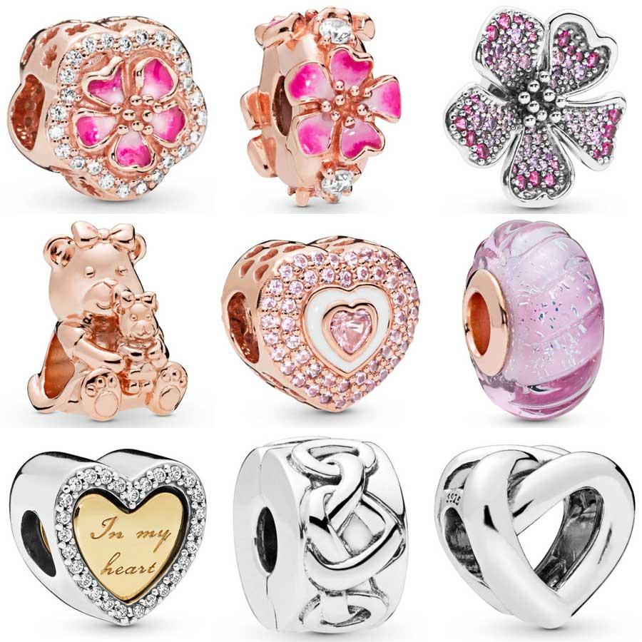 Qandocci rosa pêssego flor dora urso brilhar em meus corações em corações contas atadas caber pandora pulseira 925 prata esterlina charme