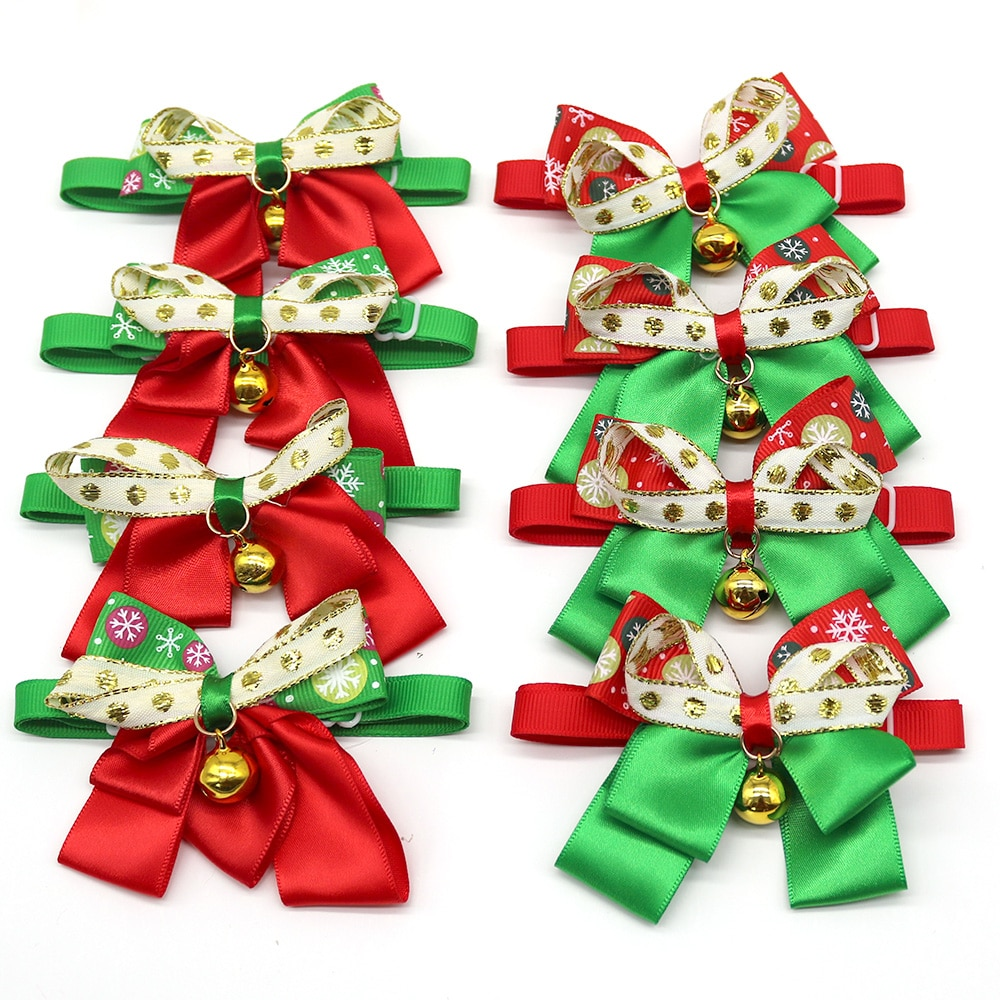50PCS Christmas Pet Supplies Dog Bow Ties Pet Dog Holiday Grooming Accessories with Bell Dog Bow Tie