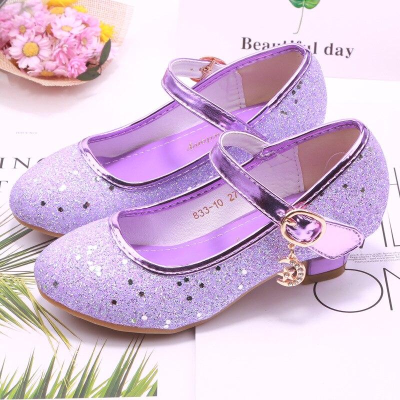 Children Princess Leather Shoes for Girls High Heel Sandals Dress Purple Kids Glitter Crystal Shoes Banquet Party Dance Wedding