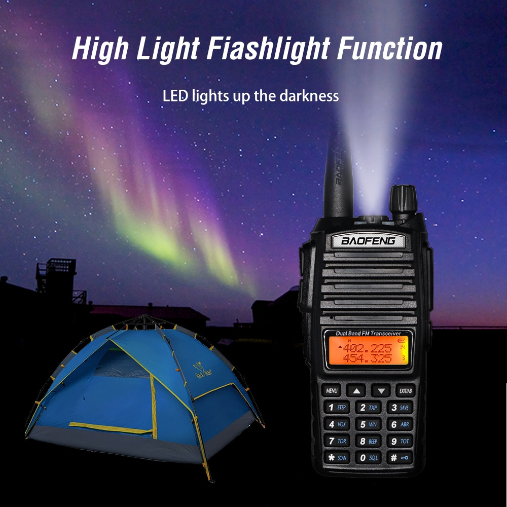 8W High Power BaoFeng UV-82 Walkie Talkie Dual Band FM Transceiver 10KM 128CH Portable CB Ham Radio UV82 Hunting Two Way Radio