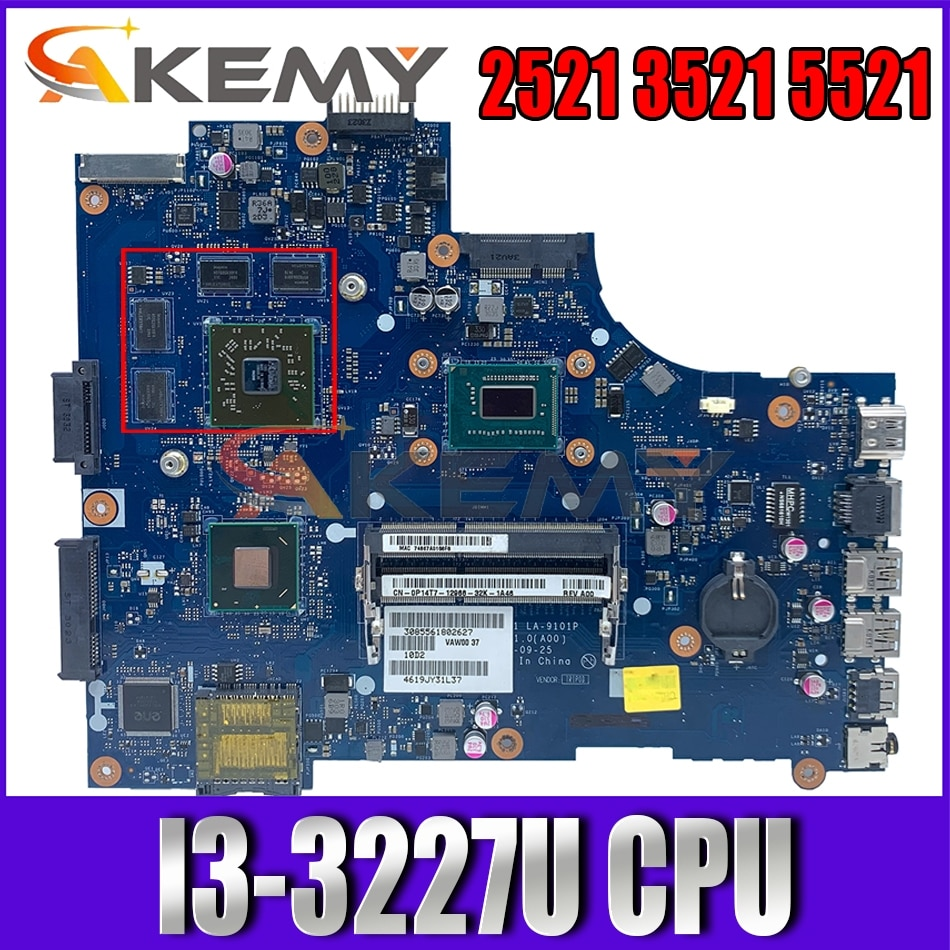Akemy I3-3227U لديل انسبايرون 2521 3521 5521 اللوحة VAW00 LA-9104P CN-00P6TK 0P6TK اللوحة 100% اختبار