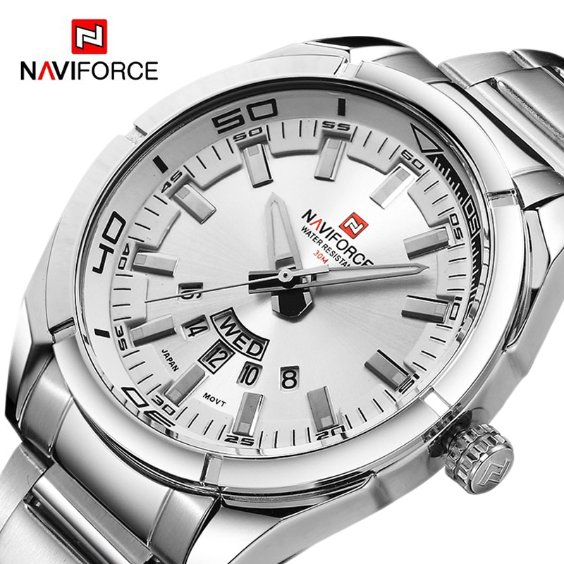 NAVIFORCE Brand Men Watches Full Steel Waterproof Casual Quartz Date Clock Top Brand Luxury Men's Wrist watch relogio masculino new men watches top brand luxury 50m waterproof ultra thin date clock male steel strap casual quartz watch men wrist sport watch