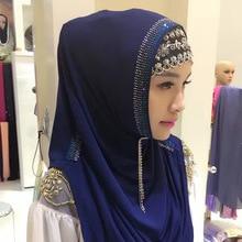 Foulard musulman prêt à porter hijab   hijab, foulard de tête, strass, facile à porter, turban rapide