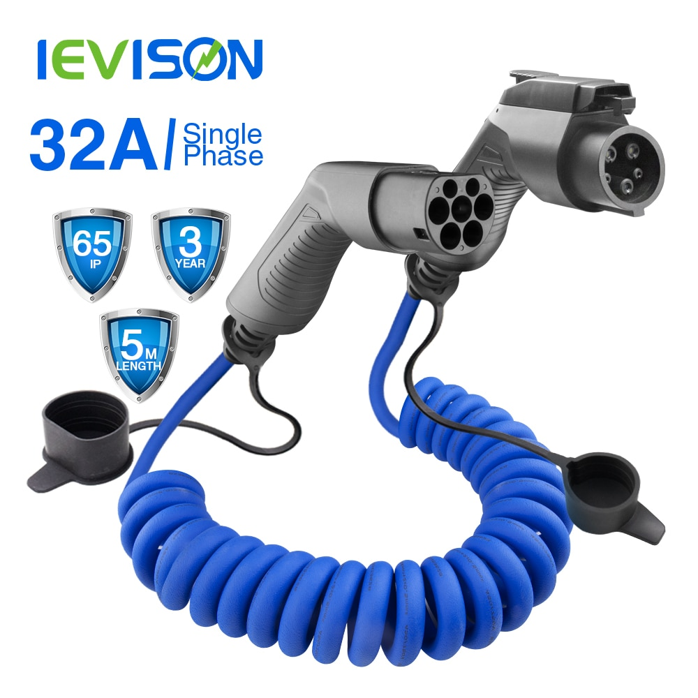 Evse sae j1772 ev cabo enrolado de carregamento para estações carro elétrico espiral carregador type1 para tipo 2 32a 7kw 5m azul para kia alma