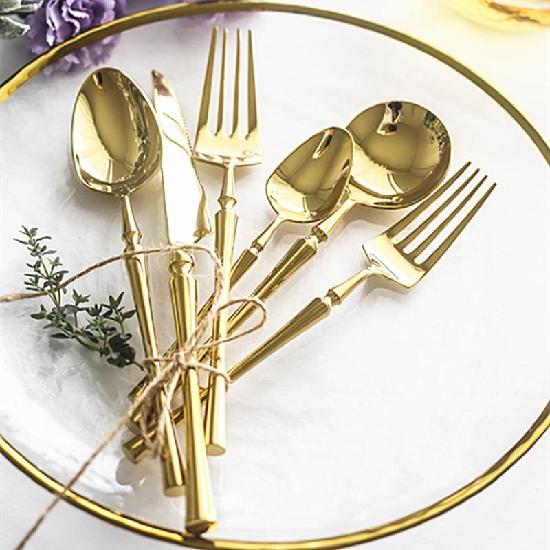 Conjunto de talheres dourados, modernos, de aço inoxidável, para casamento, material de cozinha, bk50cj