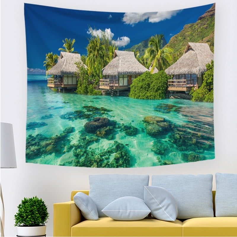 CUT Blue Ocean Waves Tapestry Wall Hanging Seascape Tapestries Palm Tree Beach House Decoration Sea Beach Towel