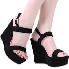 LOSLANDIFEN Open Toe Ankle Strap Platform Wedge Women Sandals Super High Cover Heel Gladiator Ladies Shoes Buckle Summer Sandals