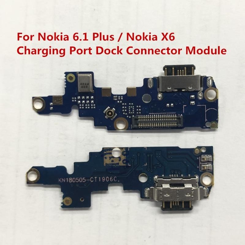 Para Nokia 6,1 Plus puerto de carga USB conector Flex Cable para Nokia 6,1 Plus / X6 Módulo de cargador Reparación de piezas de repuesto
