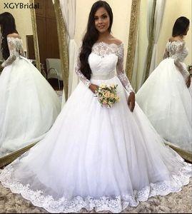 Princess Wedding Dress Vestido de Noiva Off the Shoulder Lace Sequined Tulle Long Sleeves Wedding Gowns Crystal Belt Trouwjurk