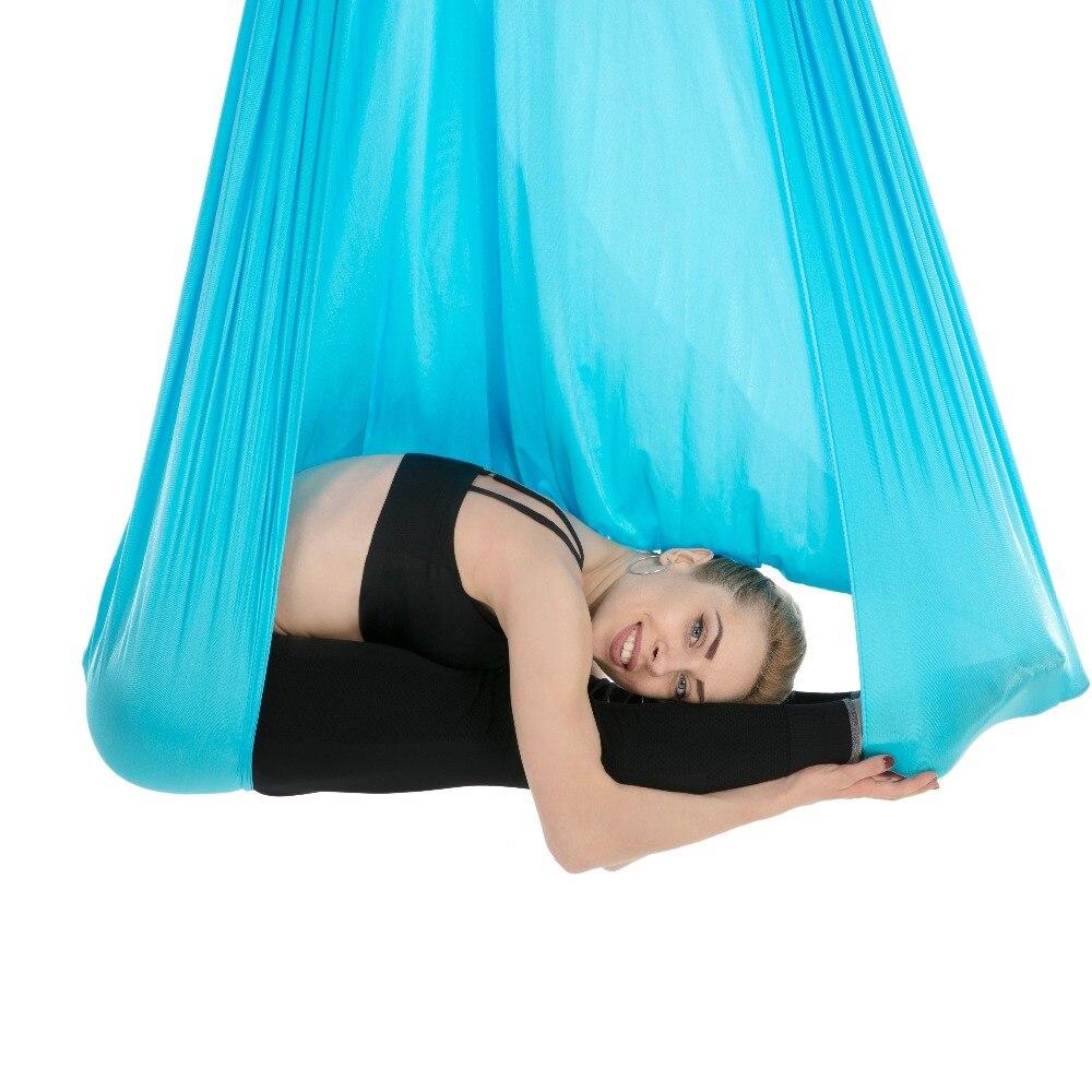 Hamaca aérea para Yoga 4*2,8 m de alto estiramiento de Nylon para el hogar, cinturón de Yoga para Pilates y Swing, equipo para moldear el cuerpo