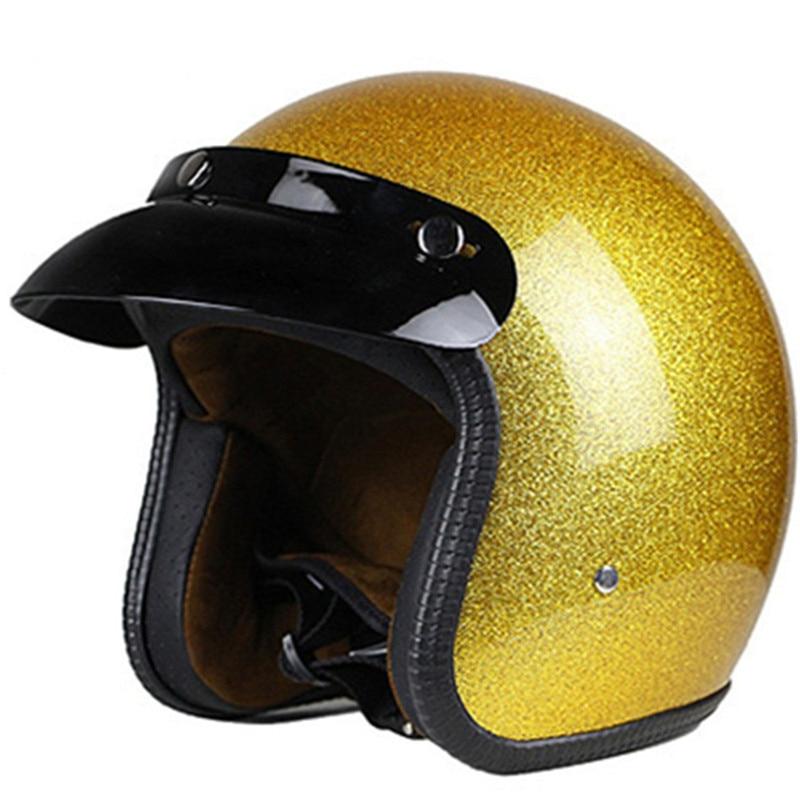 gold shine Motorcycle Helmet 3/4 Open Face Vintage Casco Moto Jet Scooter Bike Retro DOT approved Casque