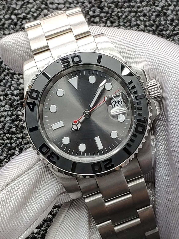 Vidro de Safira Luminoso à Prova Cinza Estéril Dial Relógios 40mm Moldura Cerâmica Relógio Mecânico Automático Masculino Dwaterproof Água Calendário Men