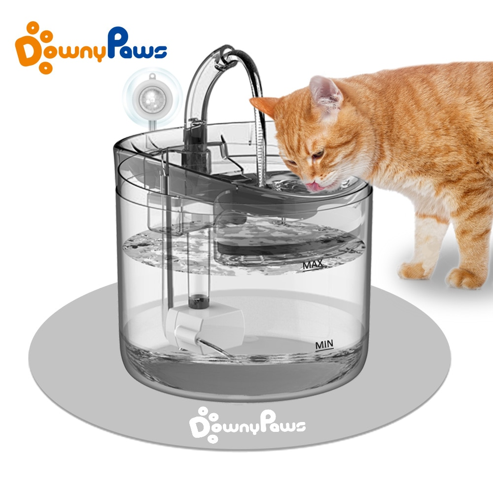 aliexpress.com - DownyPaws 2L Automatic Cat Water Fountain With Faucet Dog Water Dispenser Transparent Filter Drinker Pet Sensor Drinking Feeder