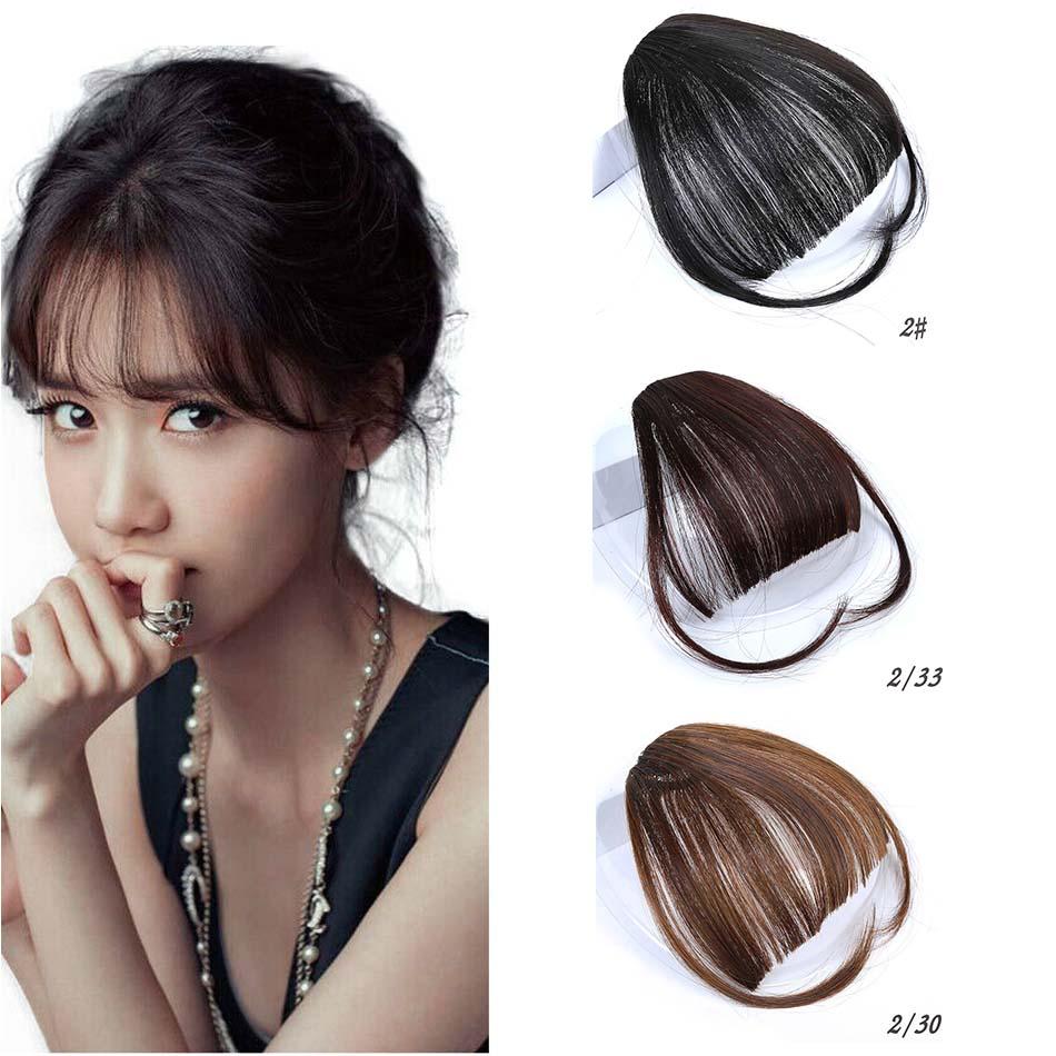MUMUPI pinza de chica bonita en el Clip en la parte delantera flequillo de pelo extensión de cabello pieza Pelo fino flequillo de aire