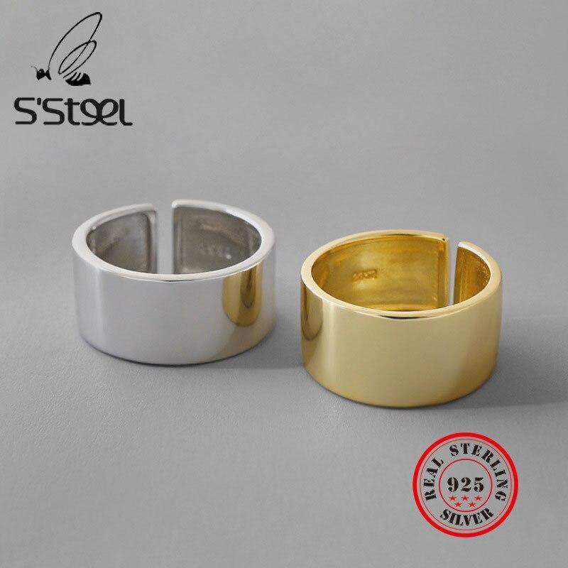 Серебряные кольца S'STEEL 925 пробы для женщин, простое Золотое кольцо, серебряные кольца 925 De Ley Mujer Bijoux Femme 2021, Изящные Ювелирные изделия