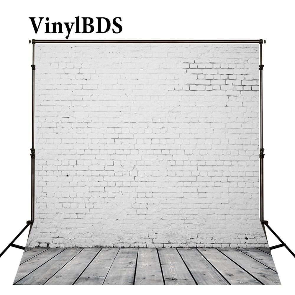 Vinilbds Vintage ladrillo blanco fotografía de pared piso de madera de fondo para niños fondos interiores para estudio