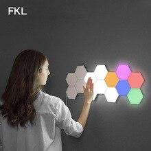 FKL LED lampe quantique modulaire applique tactile sensible lampe tactile hexagonale carreaux magnétiques veilleuses mur chevet applique murale