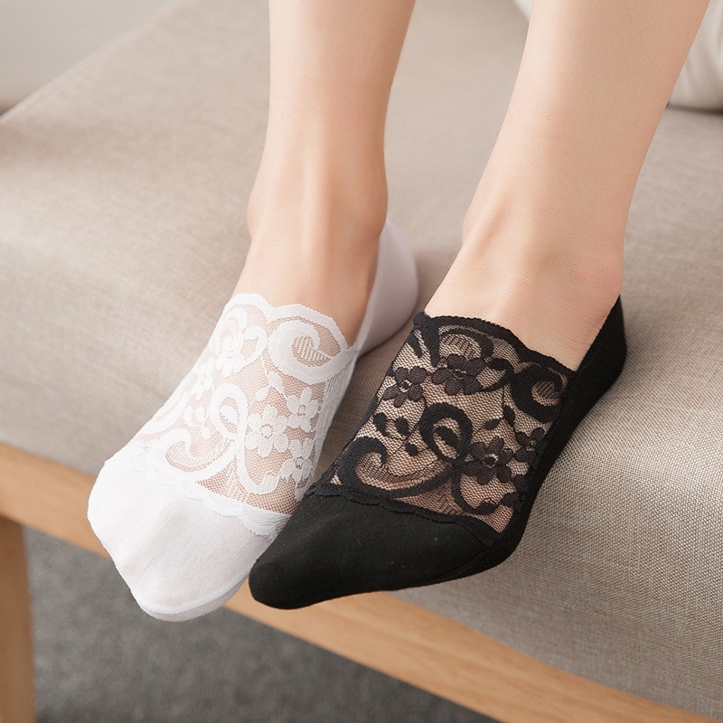 5 pair Summer women socks slippers non-slip breathable lace lace invisible socks sexy non-slip cool thin socks fashion socks