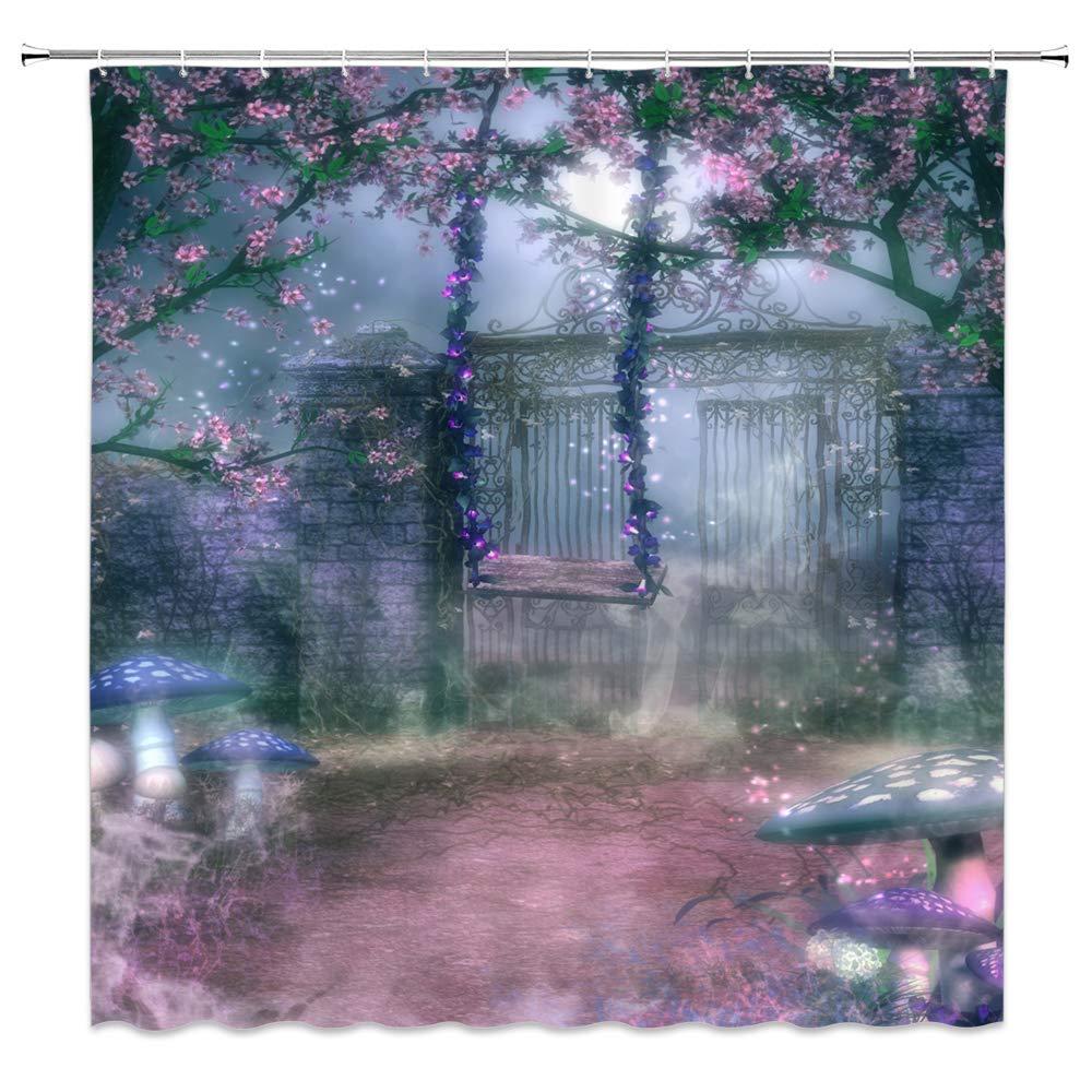 Fee Garten Stoff Dusche Vorhang Fantasie Tor Frühling Blumen Schaukel Blau Pilze Nebel Natur Landschaft Decor Badezimmer