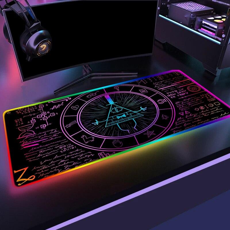 Цветная (RGB) Gamer коврик для мышки с аниме падает Gravityys большой коврик для мыши с изображением Xxl светодиодный стол коврик для ноутбука коврик и...