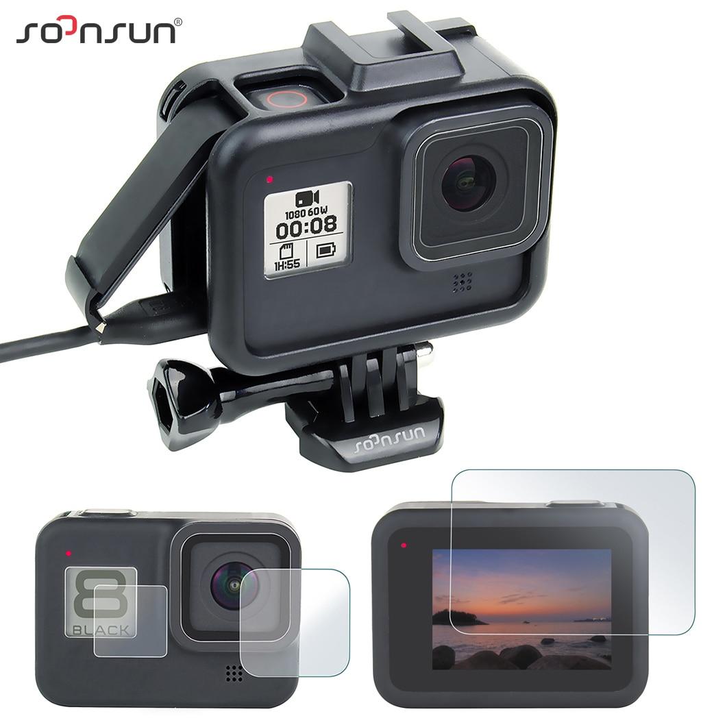 SOONSUN de protección estándar frontera marco funda carcasa de montaje con película protectora para pantalla para GoPro héroe 8 negro Go Pro accesorios