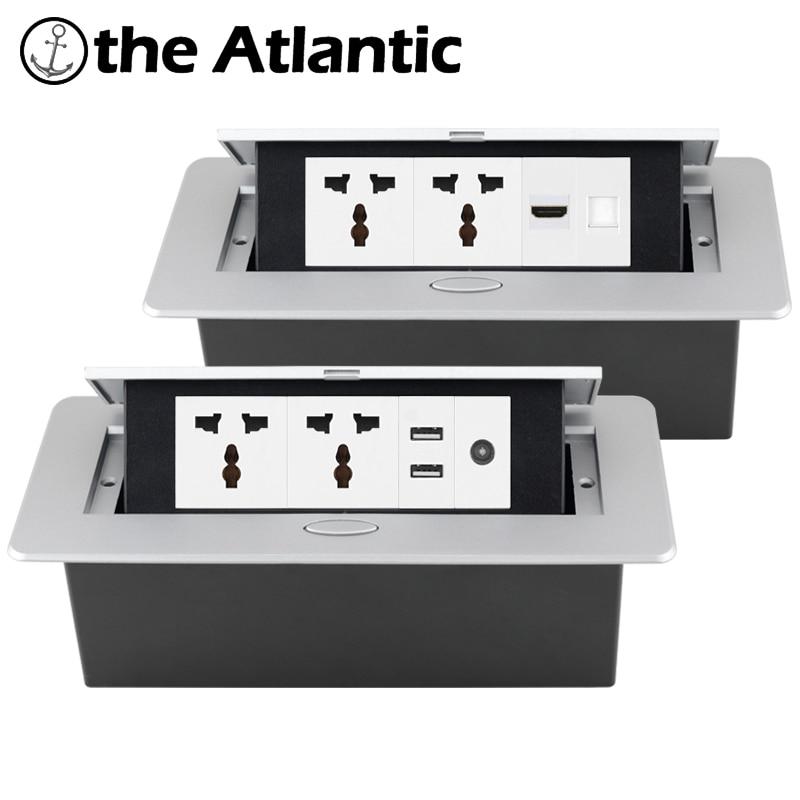 العالمي راحة قطاع الطاقة المقبس سطح المكتب المقبس USB RJ45 TV HDMI سطح المكتب المنبثقة الجدول المخرج أوروبا FR المملكة المتحدة المدمج في المقبس