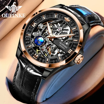 OUPINKE New  Watch Hollow Design Leather Strap 50M Water Proof Sapphire Mirror Fashion Business Automatic Mechanical Men's Watch