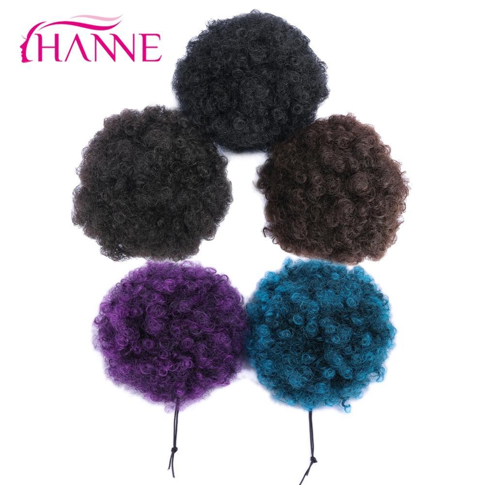 Hanne encaracolado chignon plástico pente elástico banda & clip-in pedaço de cabelo preto/marrom/roxo baixa temperatura extensão do cabelo sintético