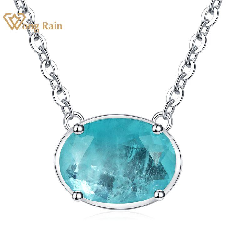 Wong chuva vintage 100% 925 prata esterlina corte oval paraiba turmalina pedra preciosa casamento colar pendente jóias finas por atacado