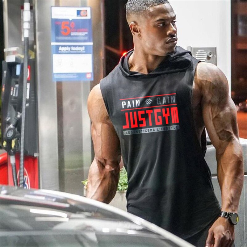 Muscleguys Marke Kleidung Gym Mit Kapuze Tank Top Männer Bodybuilding Stringer Hoodie Tanktop Training Singulett Fitness Ärmelloses Shirt