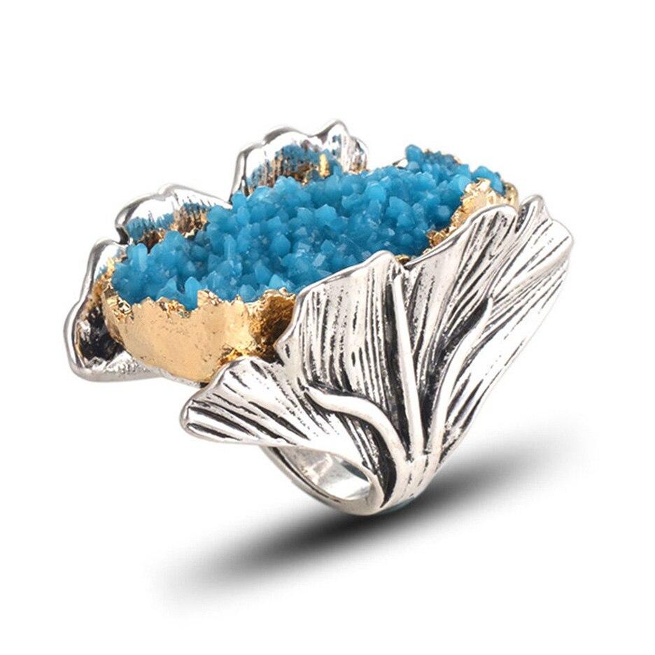 Personalidad Ginkgo Biloba anillos para las mujeres Vintage Natural piedra anillo Paty de joyería de moda