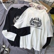 Été Harajuku Punk imprimer noir blanc O cou Patchwork à manches longues Couple t-shirt Hip Hop Punk hauts amples t-shirts femmes vêtements