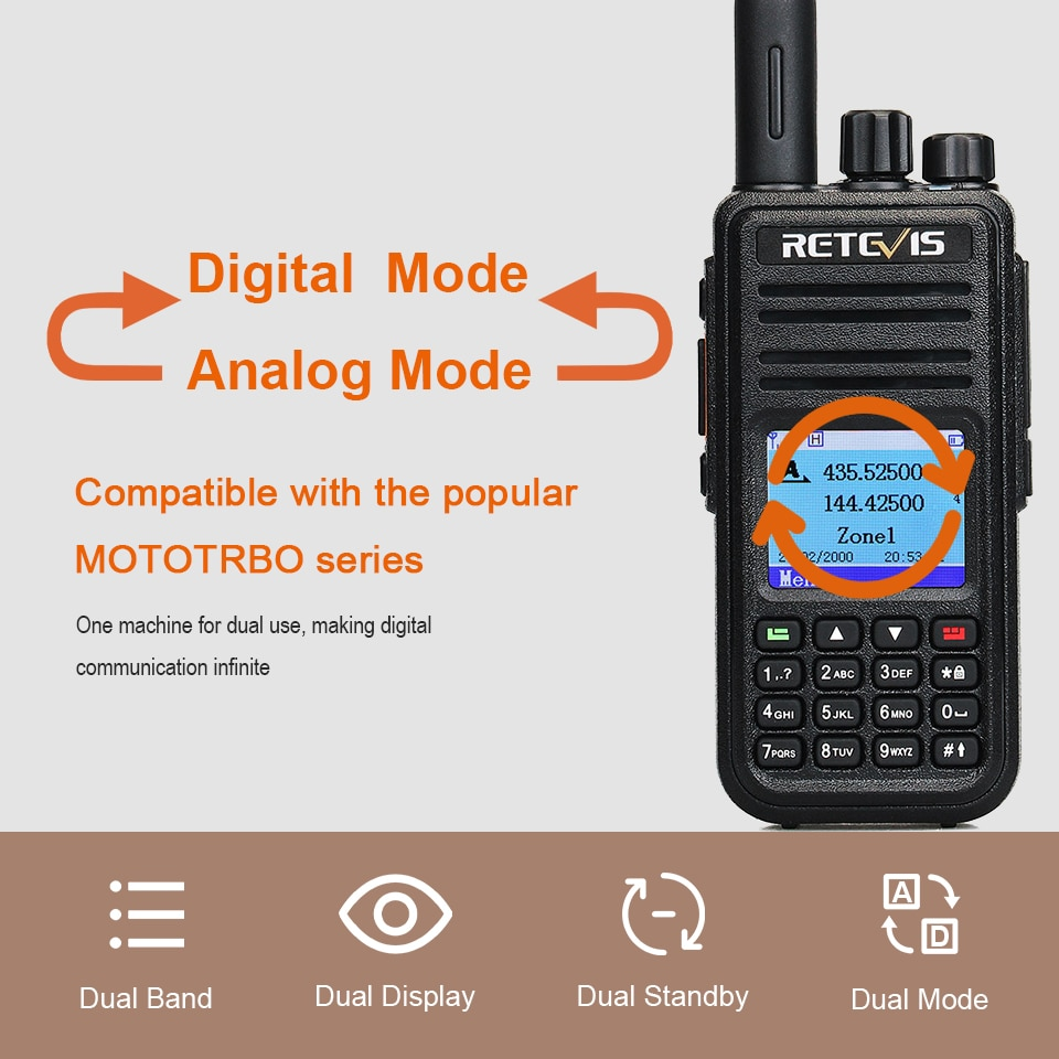 Retevis RT3S Dmr Digitale Walkie Talkie Ham Radio Stations Amateur Vhf Uhf Dual Band Vfo Gps Aprs Dual Time Slot promiscue 5W