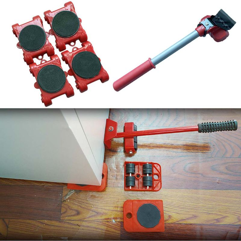 Furniture Mover Tool Transport Lifter Heavy Stuffs Moving 4 Wheeled Roller Bar
