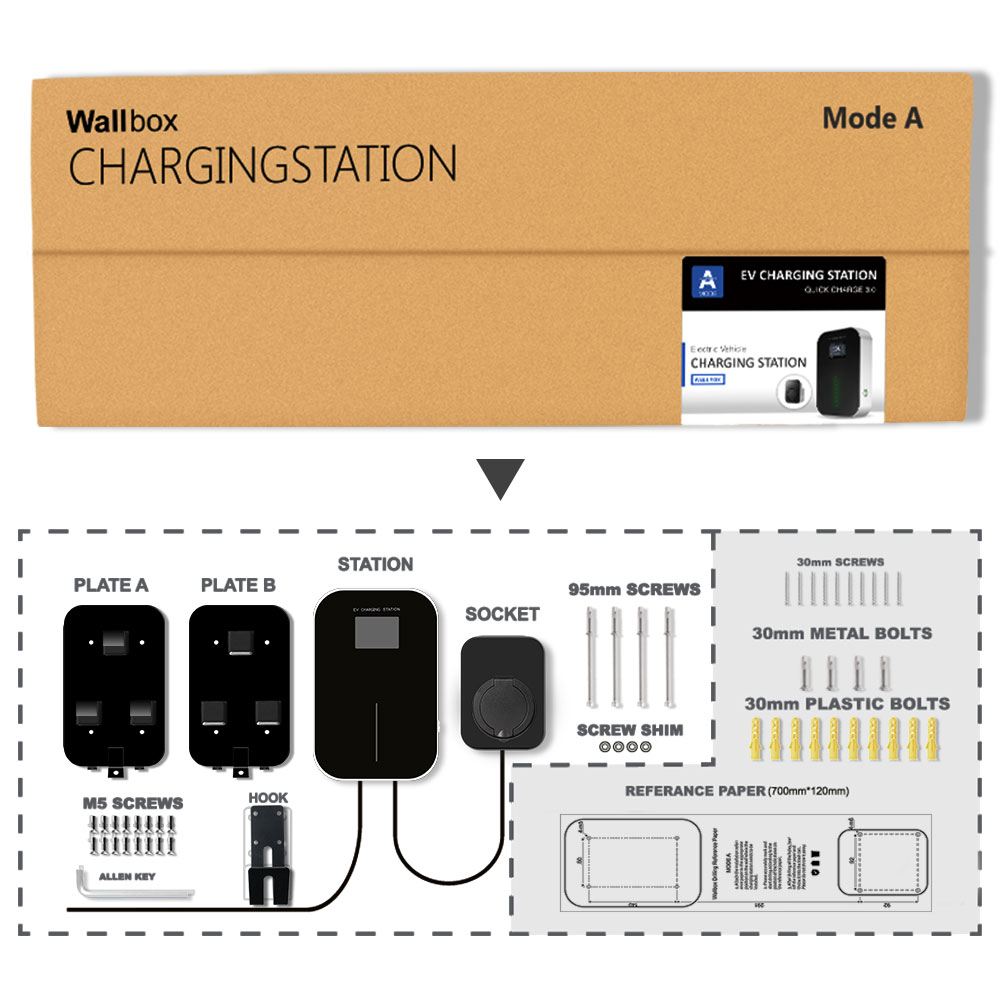 32A Single Phase EV Charger Electric Vehicle Charging Station Wallbox with Type 2 Socket IEC 62196-2 for Mercedes-Benz MINI enlarge