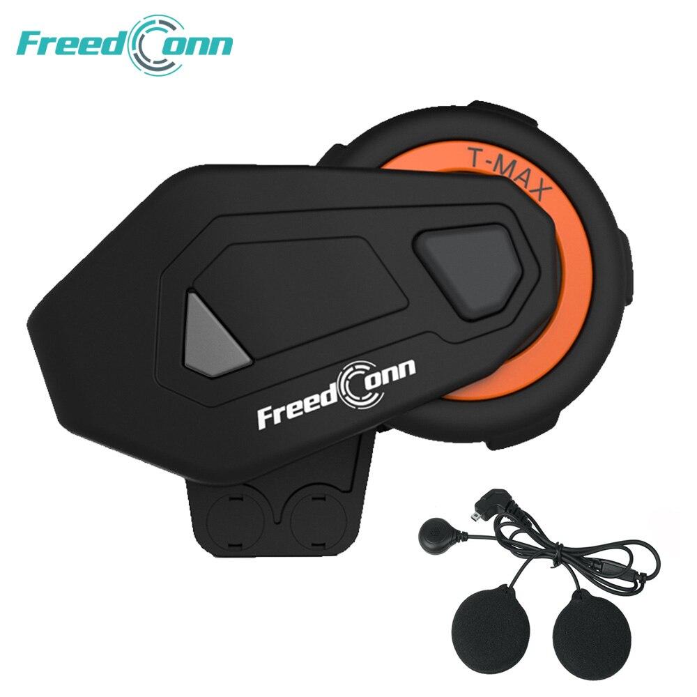 1PC Original auricular Freedconn T-MAX E intercomunicador 1000m casco auricular FM Radio Bluetooth moto altavoz auriculares 6 corredores hablar en grupo