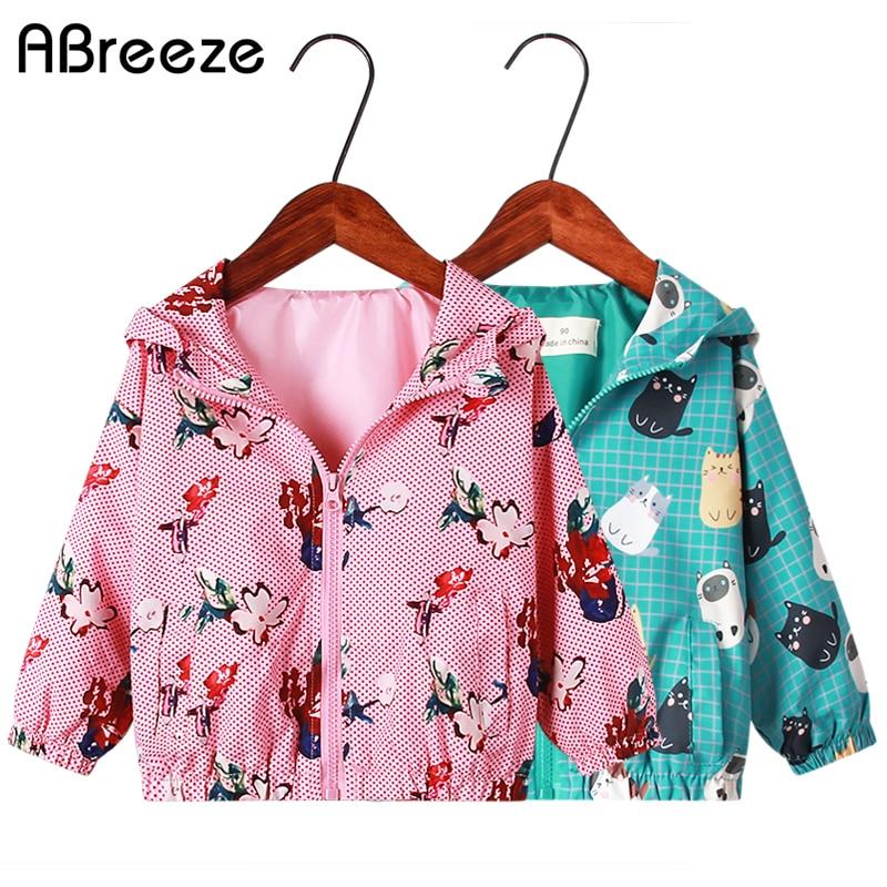New Summer Girls Outerwears fashion Flower Print Style Kids Jackets 2-6 Years Little Children Thin Jackets Coats for Girls