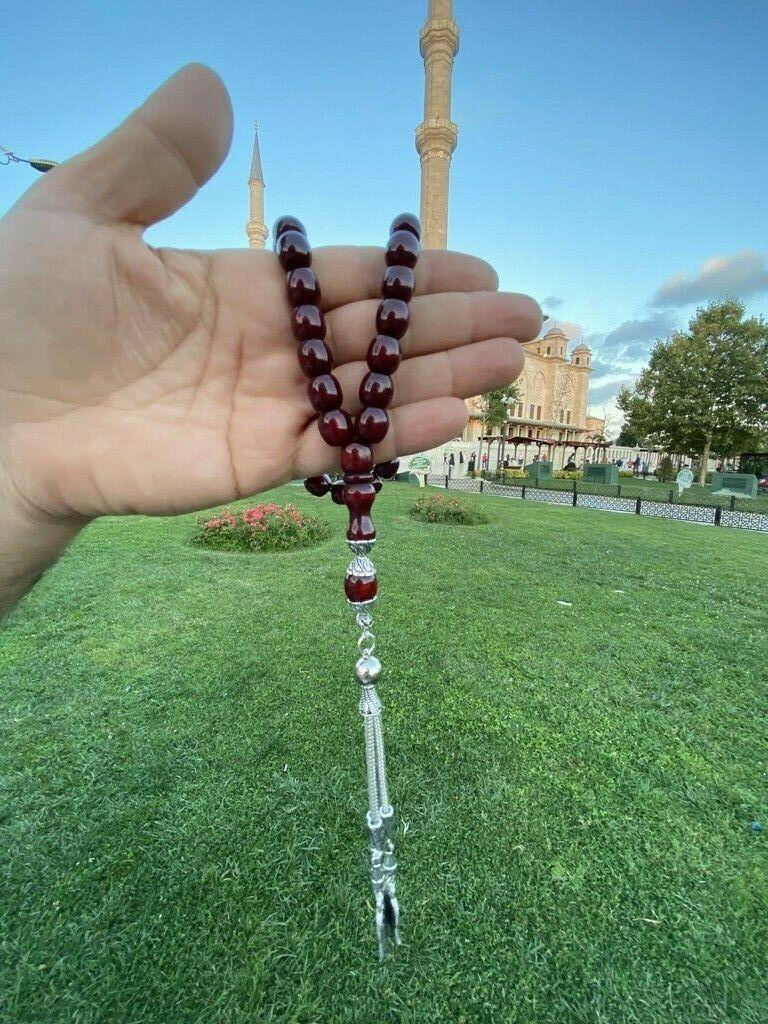 Ottoman Faturan German Amber Sandalous Misbaha Prayer Beads Islamic Gift Tasbih Tasbeeh Tasbeh Rosary Tasbih #19