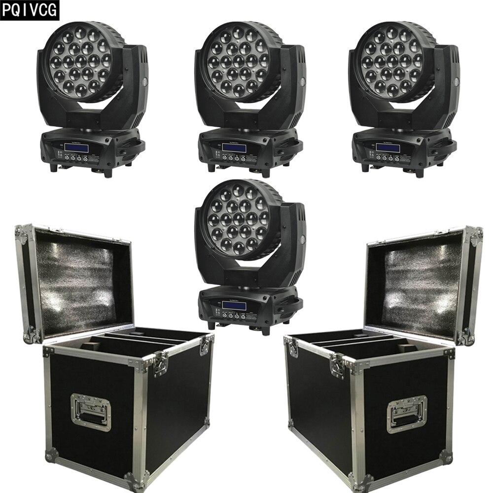 4 piezas + flightcase 19x12w Zoom teñido cabeza móvil luz RGBW 4 en 1 LED DJ luz principal móvil