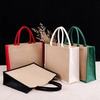 linen panelled handbag women woven square box solid color tote female retro large capacity top handle bag casual shopping purse