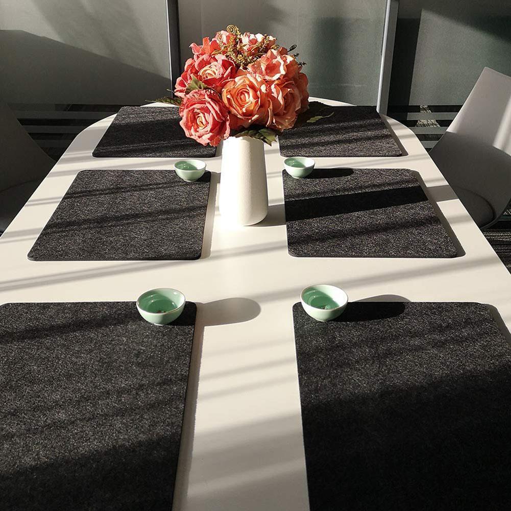 3 PEÇAS de Feltro/set Esteira de Lugar Lavável Esteira de Tabela Pad Isolamento Coaster De Vidro Para Sala de Jantar em Estilo Europeu