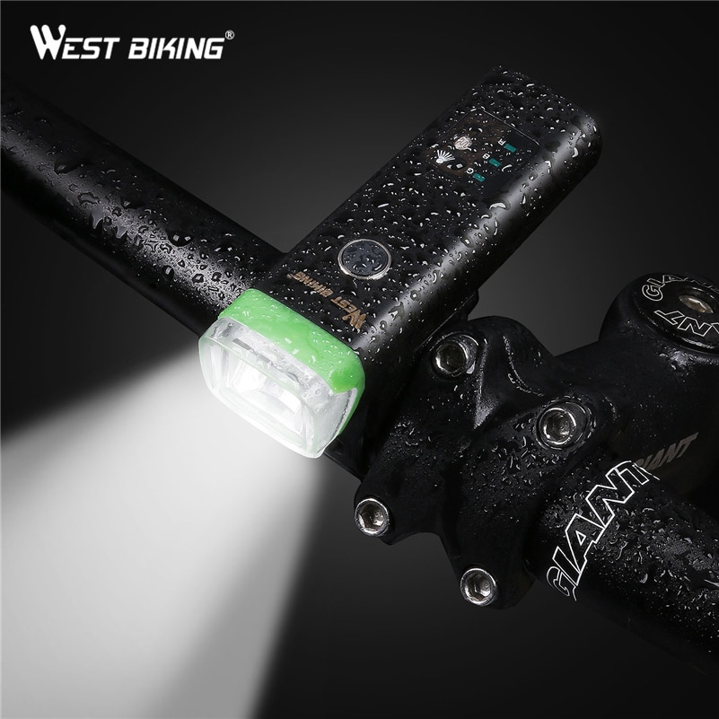 WEST BIKING inteligente bicicleta Sensor de luz Auto lámpara impermeable USB recargable ciclismo advertencia linterna 4 modos Luz de bicicleta