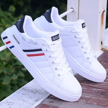Trend 2021 Men's Leather Shoes Lightweight White Sneakers Men Fashion Leather Casual Shoes Mens Busi