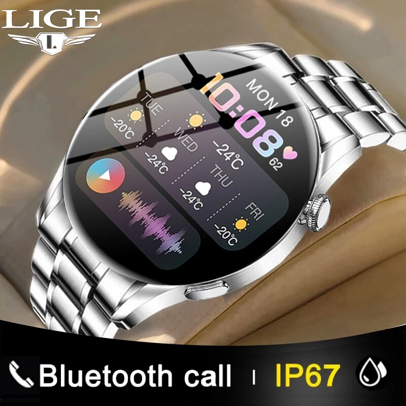 LIGE New Bluetooth Call Smart Watch Men Sports Fitness Tracker Watches Business Steel Band Full Touc